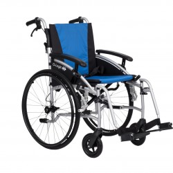 """Excel G-Logic Lightweight Self Propelled Wheelchair 16"""" Silver Frame and Blue Upholstery Slim Seat"""