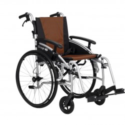 """Excel G-Logic Lightweight Self Propelled Wheelchair 16"""" Silver Frame and Brown Upholstery Slim Seat"""