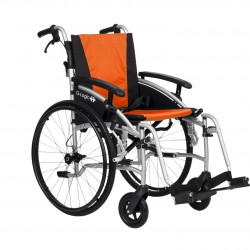 """Excel G-Logic Lightweight Self Propelled Wheelchair 16"""" Silver Frame and Orange Upholstery Slim Seat"""