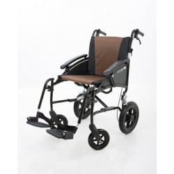 "Excel G-Logic Lightweight Transit Wheelchair 18"" Black Frame and Brown Upholstery Standard Seat"