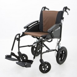 """Excel G-Logic Lightweight Transit Wheelchair 16"""" Black Frame and Brown Upholstery Slim Seat"""