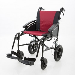 """Excel G-Logic Lightweight Transit Wheelchair 16"""" Black Frame and Red Upholstery Slim Seat"""