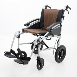 """Excel G-Logic Lightweight Transit Wheelchair 16"""" Silver Frame and Brown Upholstery Slim Seat"""