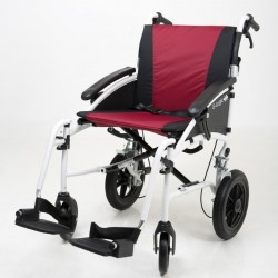 """Excel G-Logic Lightweight Transit Wheelchair 16"""" White Frame and Red Upholstery Slim Seat"""