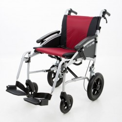 """Excel G-Logic Lightweight Transit Wheelchair 16"""" Silver Frame and Red Upholstery Slim Seat"""