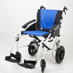 """Excel G-Logic Lightweight Transit Wheelchair 16"""" White Frame and Blue Upholstery Standard Seat"""