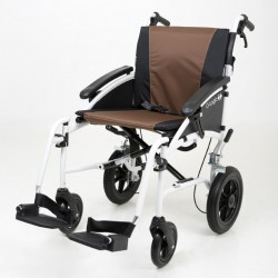 """Excel G-Logic Lightweight Transit Wheelchair 16"""" White Frame and Brown Upholstery Slim Seat"""