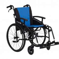 """Excel G-Logic Lightweight Self Propelled Wheelchair 16"""" Black Frame and Blue Upholstery  Slim Seat"""