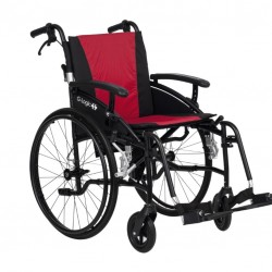 """Excel G-Logic Lightweight Self Propelled Wheelchair 16"""" Black Frame and Red Upholstery Slim Seat"""