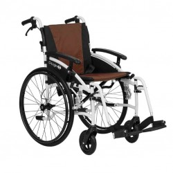 """Excel G-Logic Lightweight Self Propelled Wheelchair 16"""" White Frame and Brown Upholstery Slim Seat"""