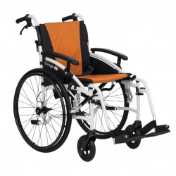 """Excel G-Logic Lightweight Self Propelled Wheelchair 16"""" White Frame and Orange Upholstery Slim Seat"""