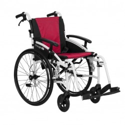 """Excel G-Logic Lightweight Self Propelled Wheelchair 16"""" White Frame and Red Upholstery Slim Seat"""