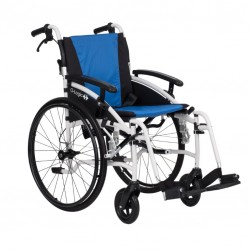 """Excel G-Logic Lightweight Self Propelled Wheelchair 16"""" White Frame and Blue Upholstery Slim Seat"""